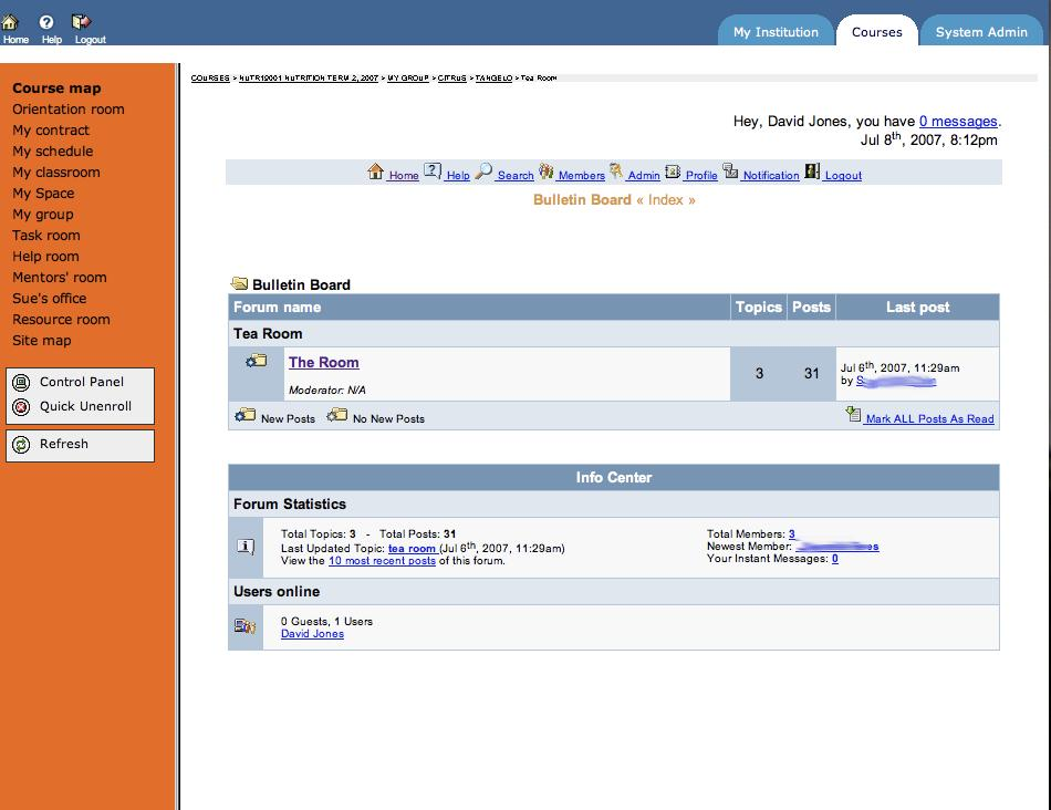 Screenshot of a Blackboard interface from 2007.